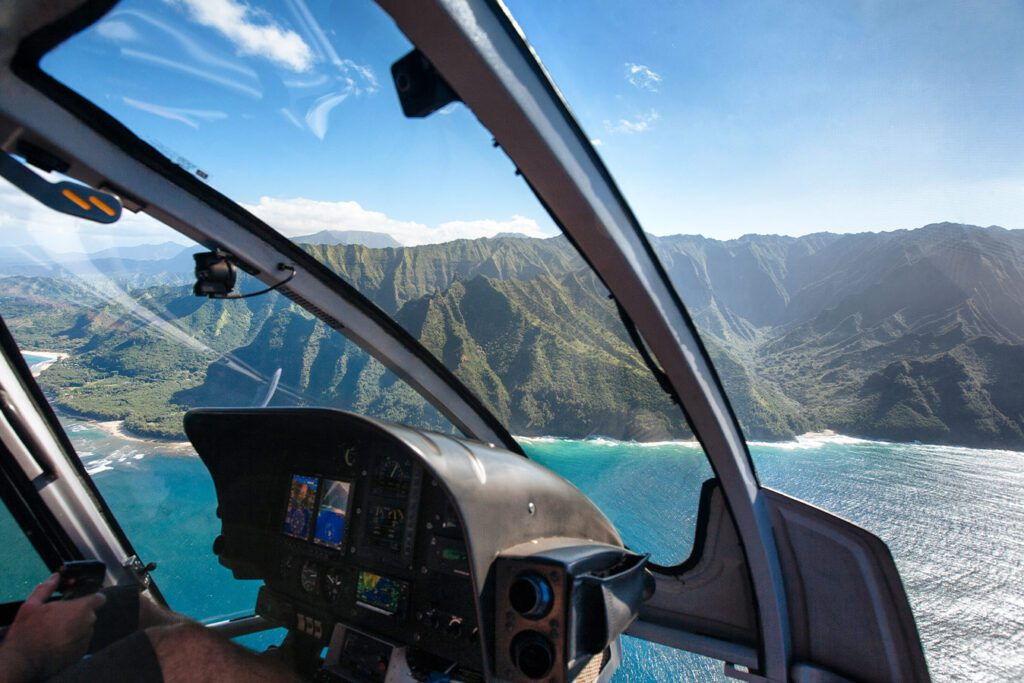 Private helicopter in Hawaii