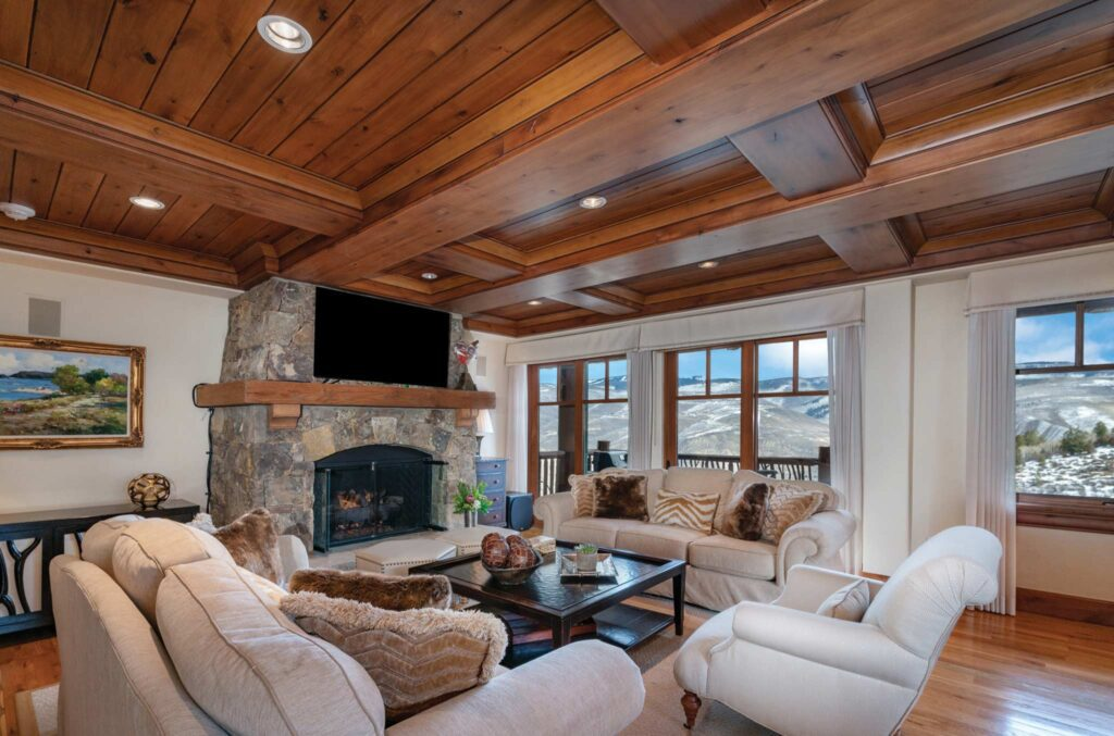 fireplace with comfortable seating in living room