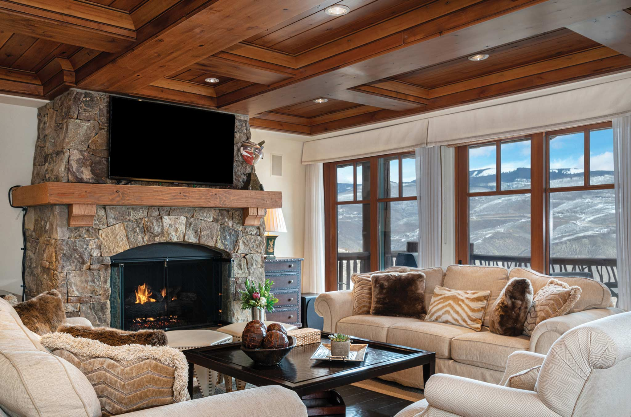 Bluebird Chalet fireplace in Beaver Creek luxury rental
