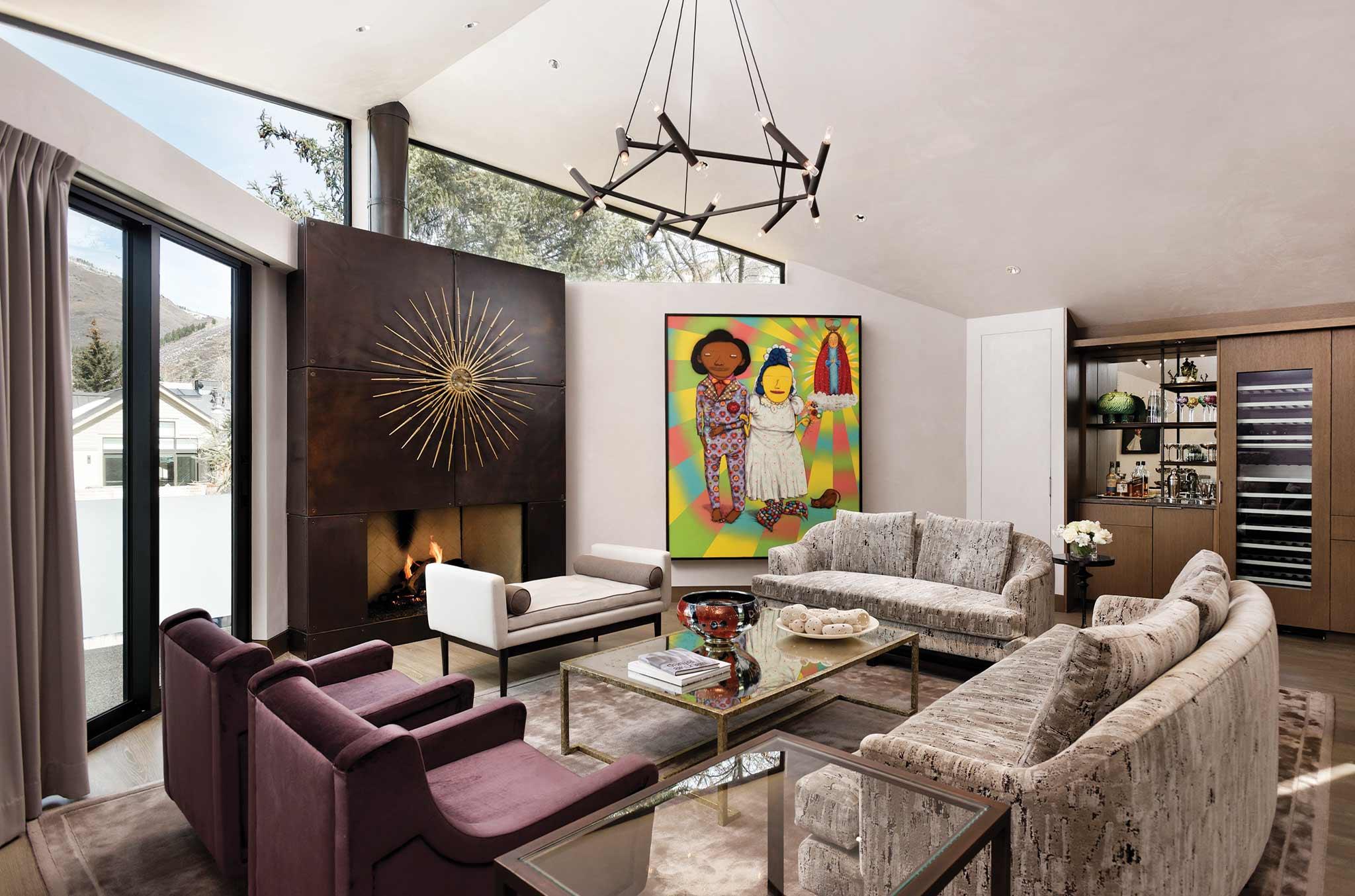 comfortable seating area in Aspen luxury rental