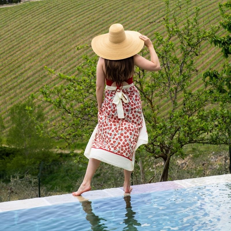 Sarah Flint looking out over vineyard