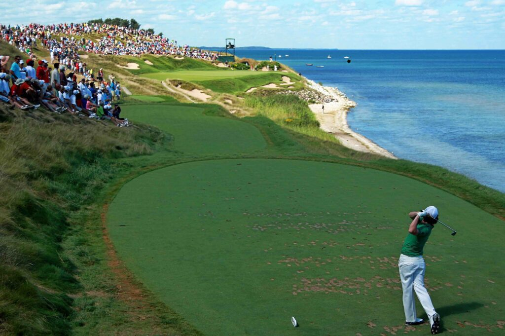 golfer teeing off at Whistling Straits
