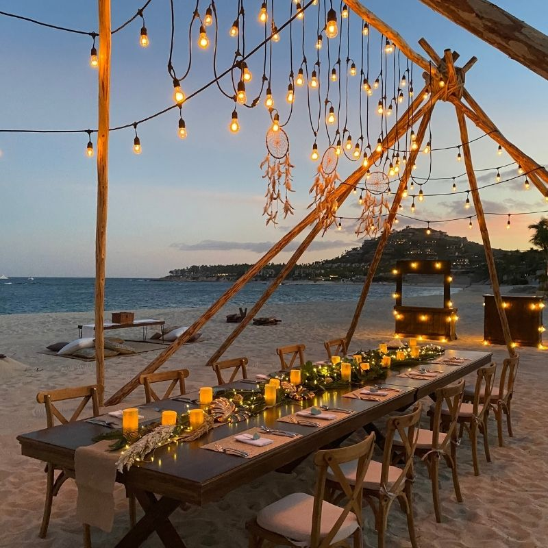 private chef beach dinner next to the sea of cortez