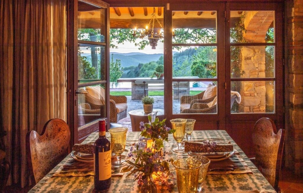 dinner at luxury tuscan vacation home
