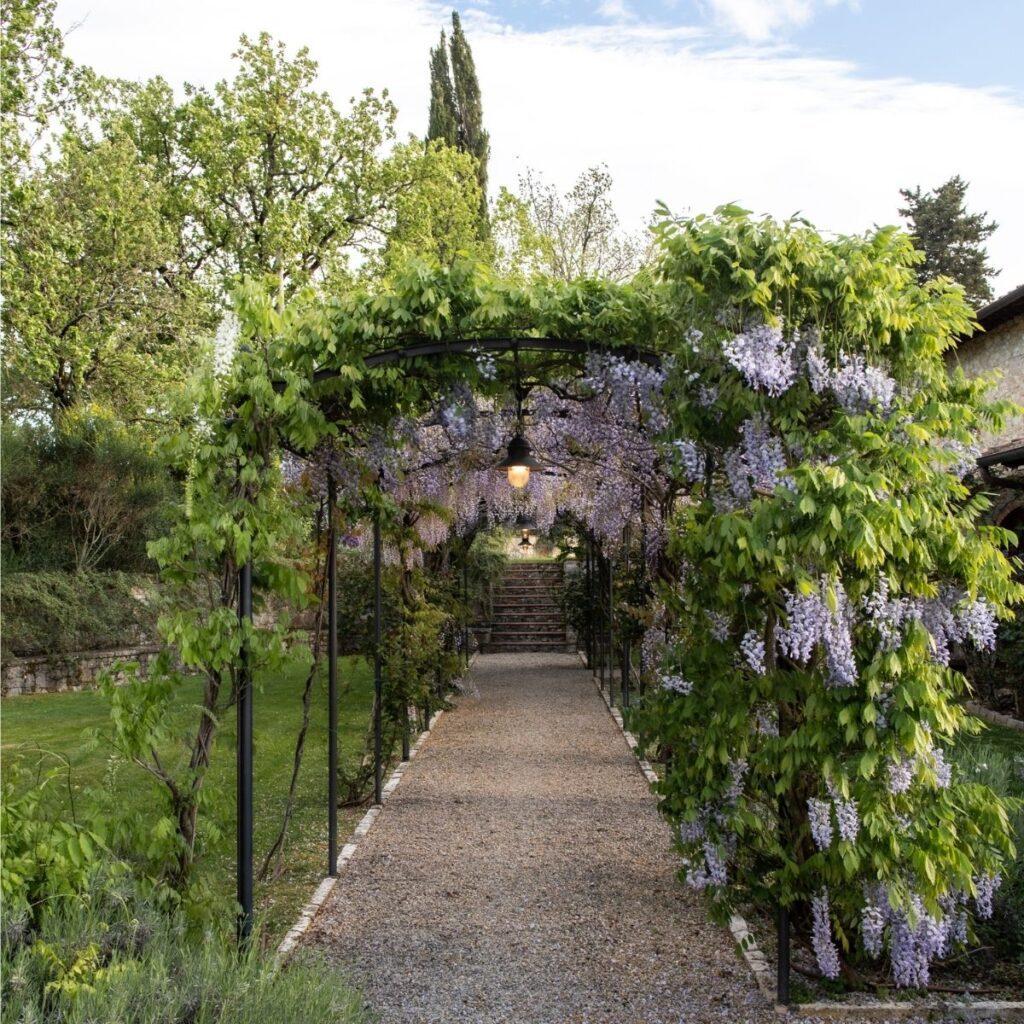 stunning entry to luxury tuscan villa