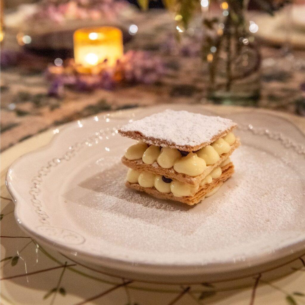 dessert at fine dinner in tuscany