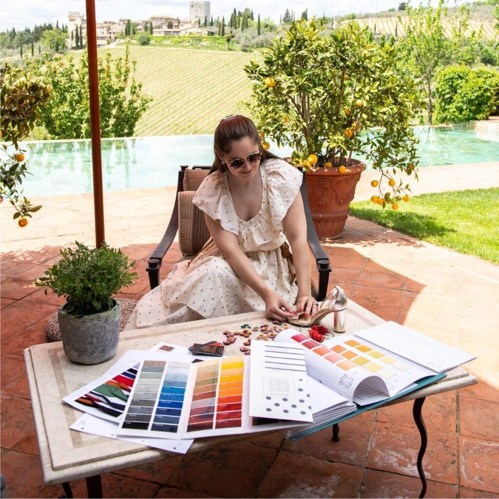 Sarah Flint designing at luxury Tuscan villa
