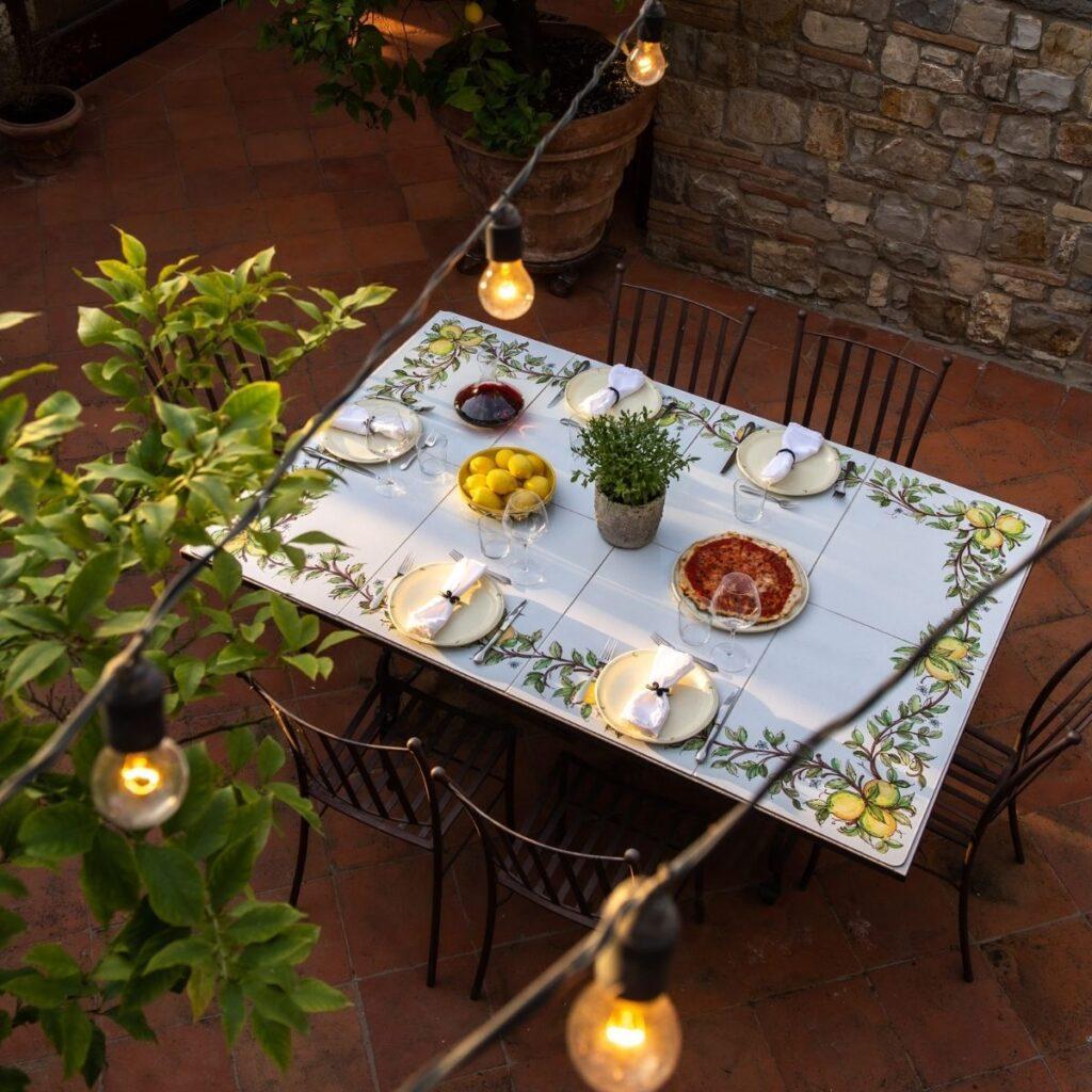 table setting at luxury tuscan villa