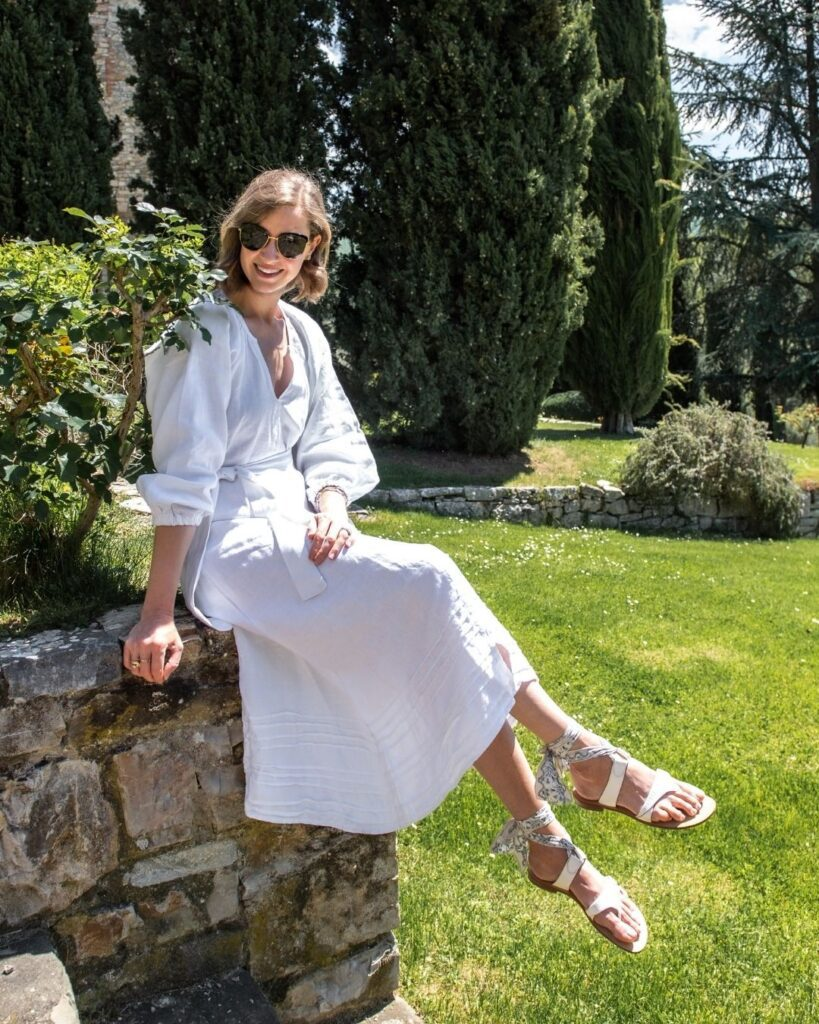 Stacie Flinner chic fashion look on Tuscany vacation